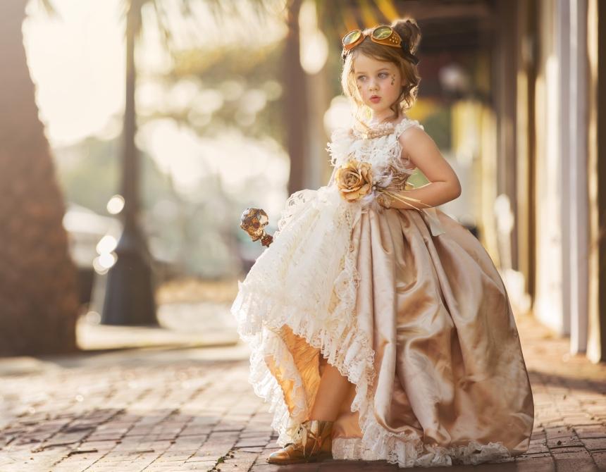 girl in gold dress